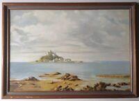 Beau Tableau Marine Baie du Mont Saint Michel Huile signée M J SIMS