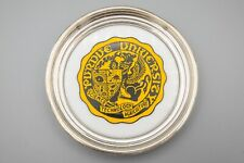"""Purdue University Sterling Silver Coaster, Vintage, Yellow Gold, White – 4 1/2"""""""