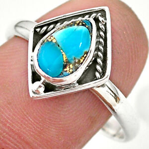 2.61cts Solitaire Blue Copper Turquoise 925 Sterling Silver Ring Size 10 T28415