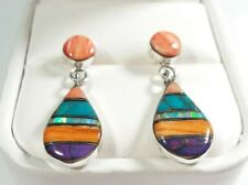 "925 STERLING SMALL SPINY OYSTER OPAL TURQUOISE  1 3/16"" x 7/16"" POST EARRINGS"