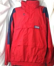 American Eagle Sport multi pocket hid-a-way hat Jacket Blue red Windbreaker M