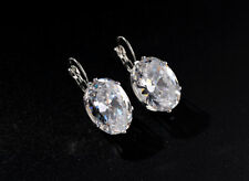 Wholesale 18K White Gold Plated Clear Round Crystal Hoop Pin Earrings