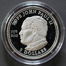 5 Dollars Silbermünze PAPST JOHANNES PAUL II. Liberia 2003 -2792-