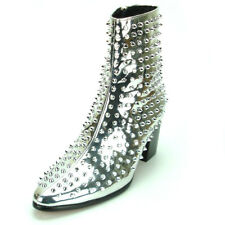 FI-7142 Silver Patent Leather Gold Spikes Fiesso by Aurelio Garcia Boot