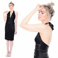 Vtg 90s Black CACHE Bandage Bodycon Satin Halter Cocktail Party Wiggle Dress S