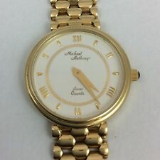 25MM 14K YELLOW GOLD MICHAEL ANTHONY SWISS QUARTZ WIRST WATCH BRACELET
