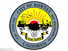 "DOWNEY CALIFORNIA CITY SEAL 4"" HELMET CAR BUMPER STICKER DECAL MADE IN USA"