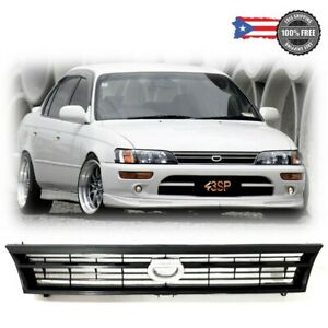 For 93-97 Toyota Corolla ABS Black Front Bumper Hood Grill Grille Crown Logo
