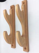 Beautiful Handcrafted Oak Wood 2 Gun Wall Mount Rack For Rifles Or Shotguns