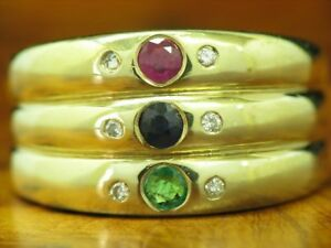 8kt 333 Yellow Gold Ring with Diamond & 0,36ct Sapphire,Emerald & Ruby Trim /