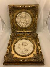 Antique Pr Perfgium Regibus Relief Carved Marble? Cherubs Gilt Wood Coin Inset