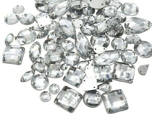 Mixed Size Clear 130pc Sew On Flat-back Rhinestones/ Crystals Stones Gem Stones