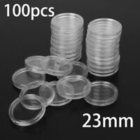 23 Mm Clear Round Plastic Coin Holders Capsules Containers Storage Case Box 100x