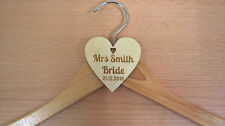 Personalised Wooden Heart Laser Engrave Coat Hanger Tag DIY Wedding Bridal Party