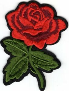 """RED ROSE 3 1/2""""  Iron On Patch Flowers Roses Garden"""