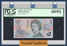 "TT PK 50a 1992 AUSTRALIA 5 DOLLARS ""QUEEN ELIZABETH II"" PCGS 68 PPQ TOP POP!"