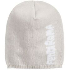 FENDI BABY PALE GREY KNITTED ROMA LOGO HAT 6-12 MONTHS