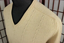 VTG Tan Camel Hair Lord Jeff Sweater Sz Large USA MadeCable Knit V Neck Granddad