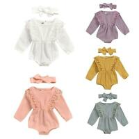 2pcs Autumn Cotton Clothes Set Baby Kid Girl Solid Color Rompers + Headband Lot