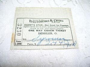 ANTIQUE AGENT'S TICKET STUB BALTIMORE & OHIO RAILROAD ONE WAY COACH TICKET 1939