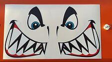 Angry SQUALO faccia Adesivi Fiocco SQUALI Tinny Kayak Tackle Box dissolvenza e impermeabile