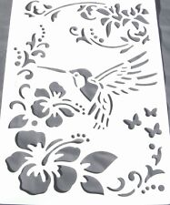 Wall Stencil Reusable Template Flower Leaves Bird Tropical No 2 Includes Brush
