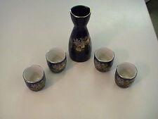 Vintage Sake Set 5 pieces Purple/Blue Birds with Flowers