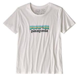 PATAGONIA COTTON WHITE PASTEL LOGO TEE T-SHIRT SIZE SMALL BRAND NEW RRP $59.95