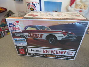 AMT 1964 PLYMOTH BELVEDERS -LAWMAN RACING MODEL KIT COMPLETE 1/25 SCALE