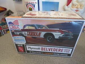 AMT 1964 PLYMOTH BELVEDERS -LAWMAN RACING MODEL KIT COMPLETE 1/25 SCALE