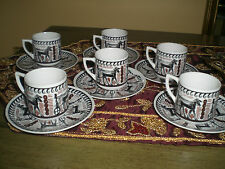 Grecian Teacups and Saucers by N. Leontaritis -1940-Vintage!