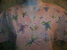 Pink polka dots butterfly dragonfly vneck scrubs top dental medical nurse vet XS