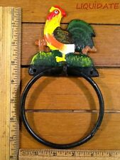 "Rooster Towel Ring Holder 7-3/4"" rustic cast iron vintage style Wall decor Bath"