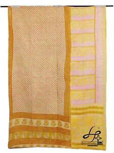 Indian Kantha Quilt Handmade Coverlet Cotton Gudari Old Bohemian Ralli Throw Art