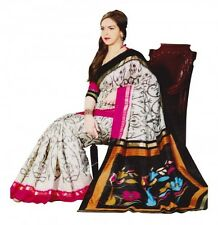 Traditional Indian Ethnic Jute Silk Sarees Fashion Sari Printed Designer Elegant