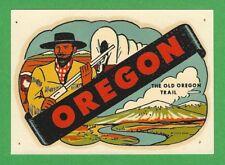 "VINTAGE ORIGINAL 1951 SOUVENIR ""THE OLD OREGON TRAIL"" OREGON TRAVEL DECAL ART"