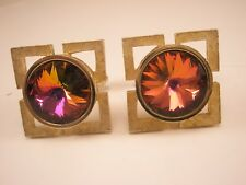 Shields Gold Tone & Red/Pink Rhinestone Vintage Cuff Links gift