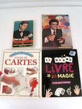 MAGIE -TOURS DE CARTES ET PRESTIDIGITATION - 4 LIVRES TECHNIQUES 1975/77/95/2008