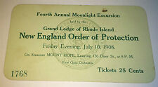 Antique American Moonlight Excursion Ticket! New England Order of Protection! RI