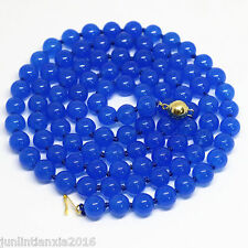 Natural 8mm Blue Round Sapphire Gemstone Bead Necklace 36'' AAA