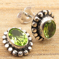 Natural Fire PERIDOT Gemstones Designer Little Stud Earrings, 925 Silver Plated
