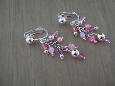 """Boucles d'Oreilles Rose/""""Argent""""/Argenté, perles de verre/Cristal ,avec clips"""