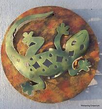 Lucky Gecko on Round Handmade Metal Wall Sculpture Home & Garden Western Art