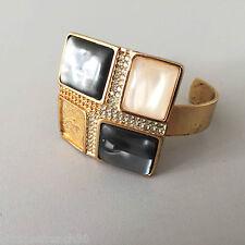 Christian Dior, superbe gros bracelet en métal doré vintage, à restaurer