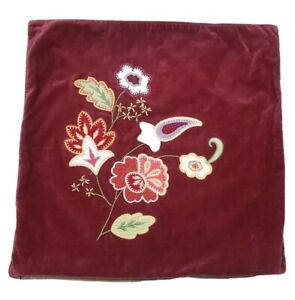 Pottery Barn 18x18 pillow covers Red Velvet Floral Embroidered Set Of 2