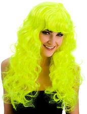 Cassie Neon Lockenperücke mit Pony gelb NEU - Karneval Fasching Perücke Haare
