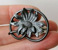 Antique Openwork Flower Lovers Knot Edwardian Nouveau Sweetheart Old Pin Brooch