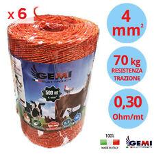 CONFEZIONE 6 Bobine di FILO 500 MT Ø 4 mm 6 FILI CONDUTTORI RECINTO ELETTRICI