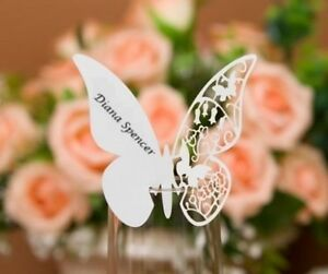 Baby Shower 12 Pack of Butterfly Name Place Cards Ivory Pearl Engagement Party