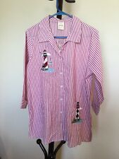 1aa055d33 New Women's BLAIR Button Up 3/4sleeve Cotton Pink Stripes Embroidered Top  Size M